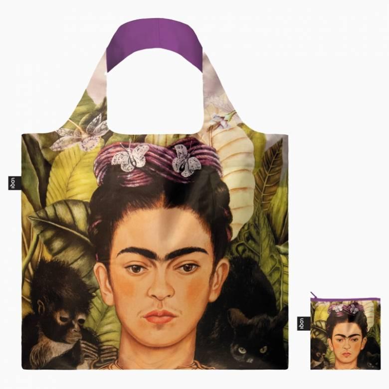 Frida Kahlo Self Portrait - Reusable Tote Bag With Pouch