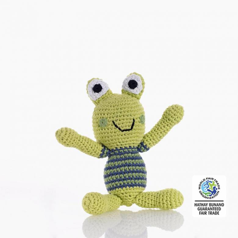 Frog Rattle Boy Crochet Knitted 0yrs+.