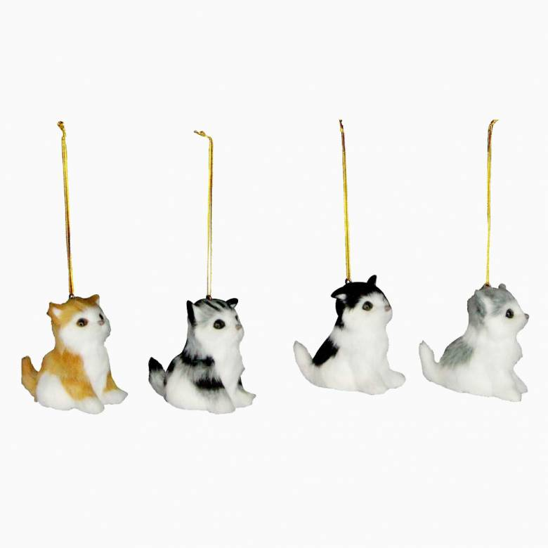 Furry Kitten Christmas Decoration