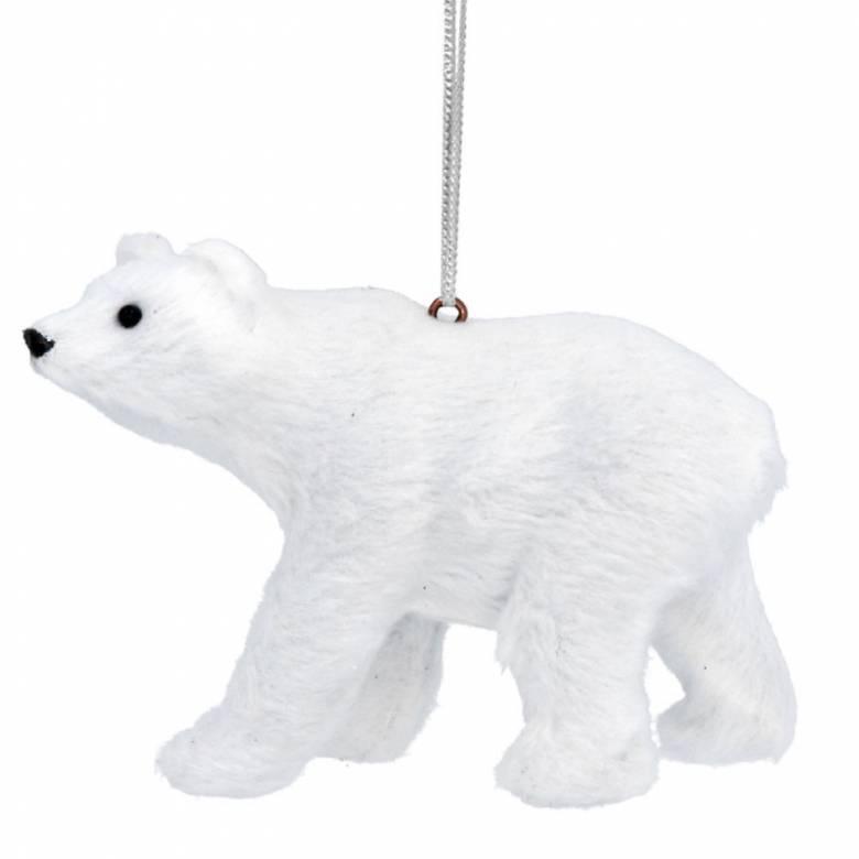 Furry Polar Bear Hanging Christmas Decoration