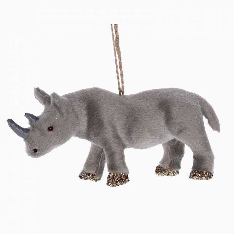 Furry Rhino Christmas Decoration