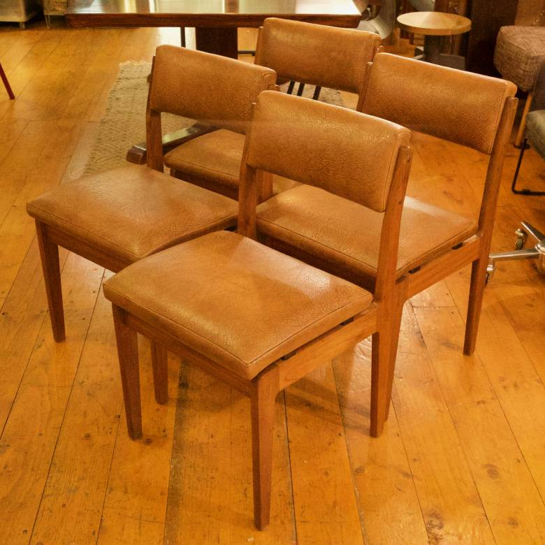 Set of 4 McIntosh Dining Chairs Brown Vinyl Upholstery