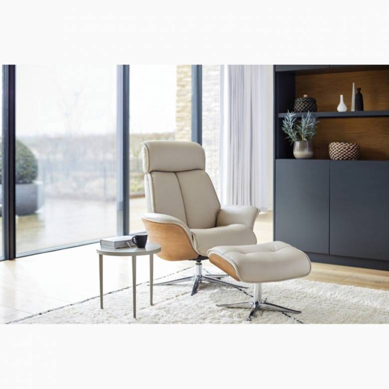 G Plan - The Lund - Recliner Armchair & Footstool - Wood Side