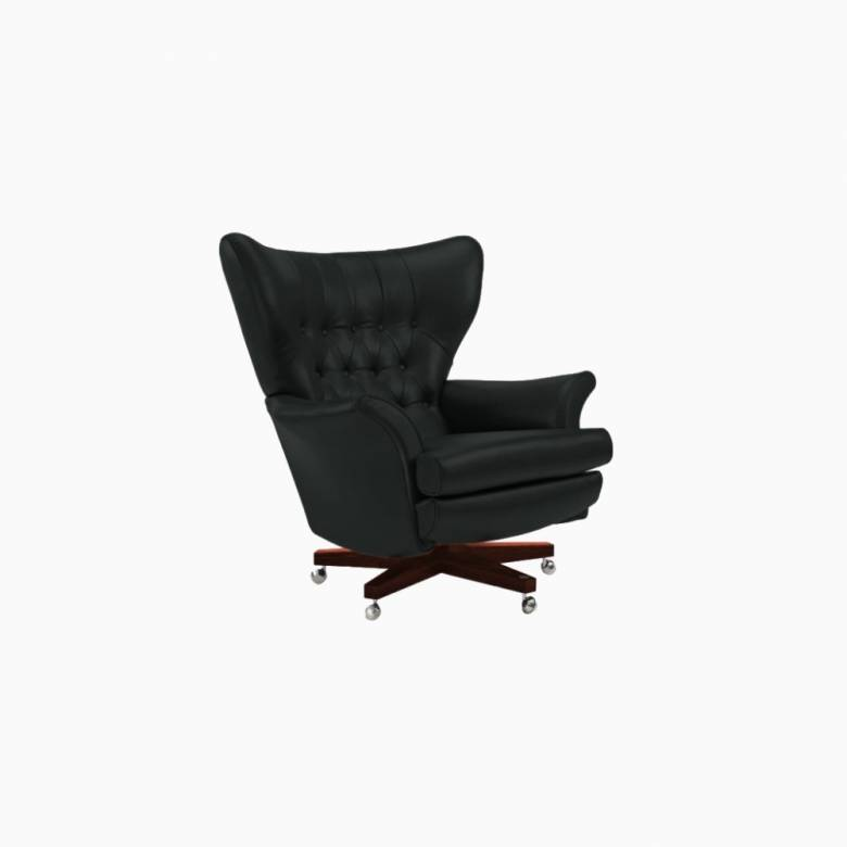G Plan Vintage The Sixty Two Cambridge Leather Swivel Armchair