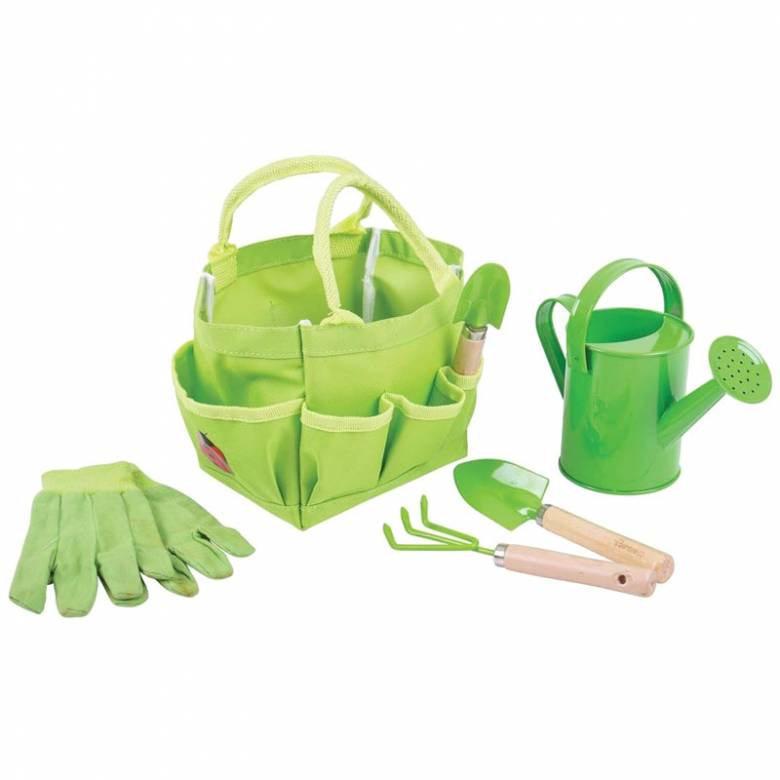 Small Green Bag With Gardening Tools 3+