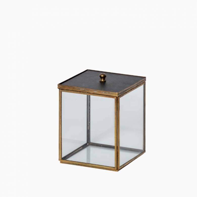 Glass & Brass Trinket Box With Black Lid