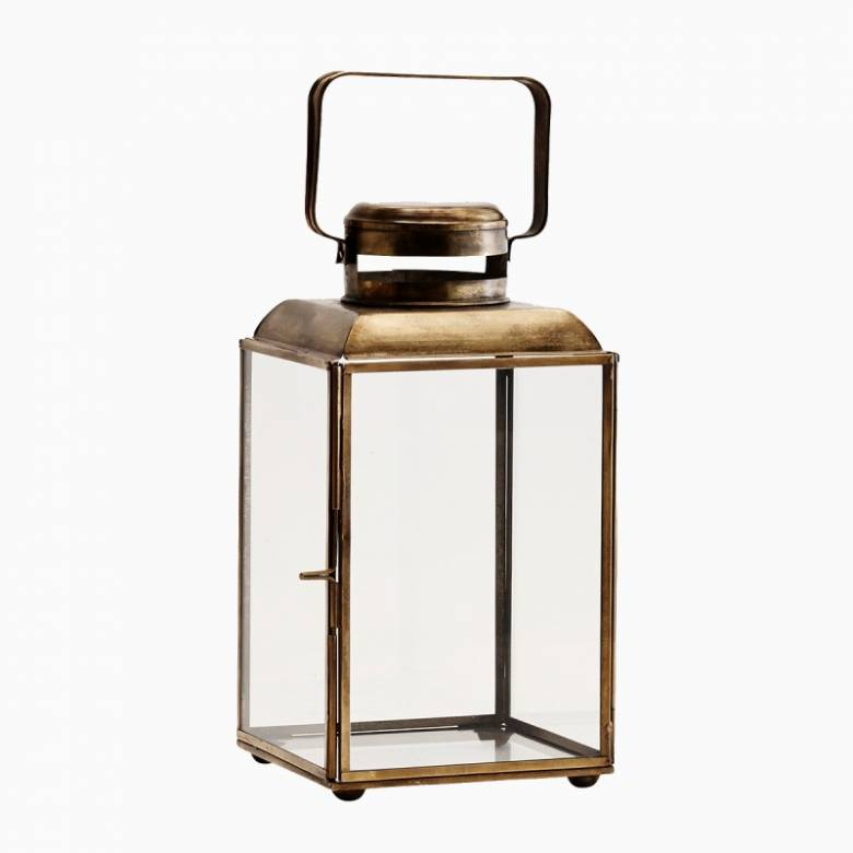 Glass Lantern In Antique Brass With Rectangular Handle H26cm