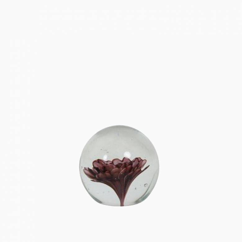 Glass Purple Flower Paperweight 8.5x8.5cm
