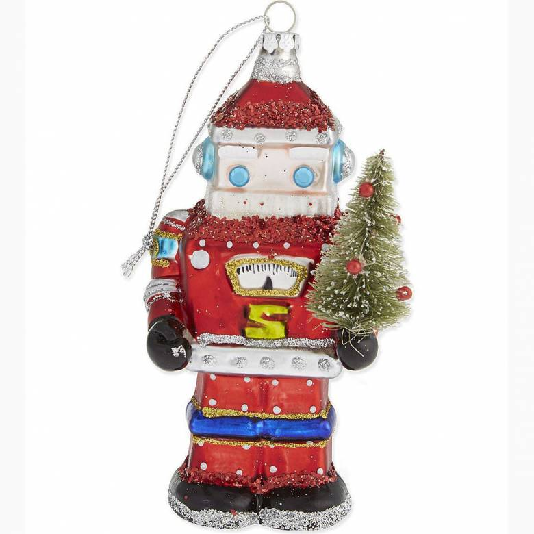 Glass Santa Robot Christmas Decoration By Gisela Graham