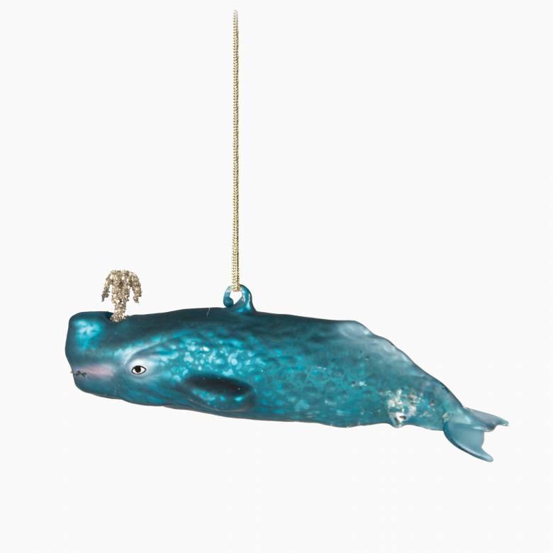 Glitzy Whale Glass Christmas Decoration