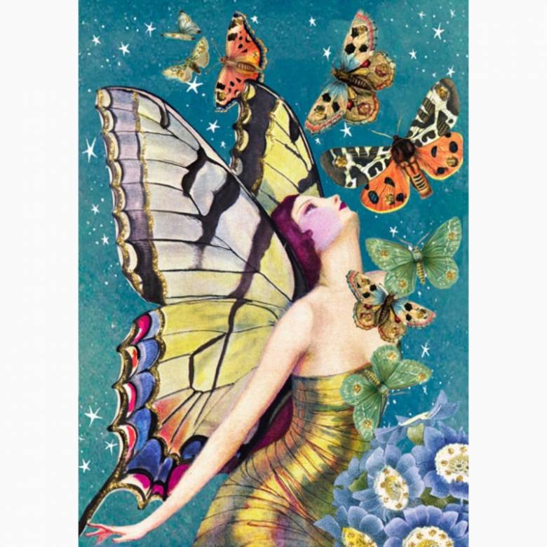 Glitter Moths - Greetings Card