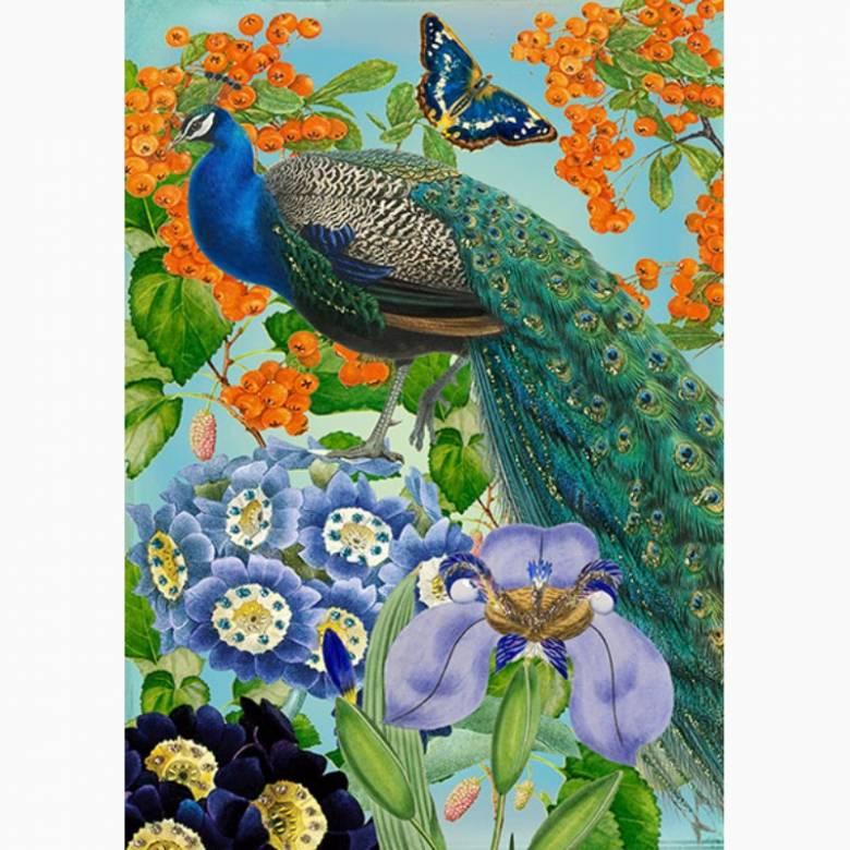 Glitter Peacock - Greetings Card