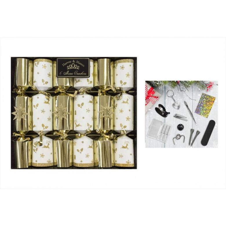 Set Of 6 Gold & White Mini Luxury Crackers