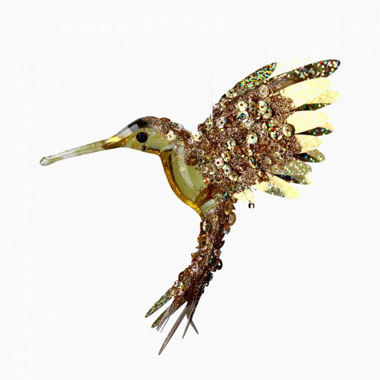 Gold Beaded Hummingbird Christmas Decoration By Gisela Graham