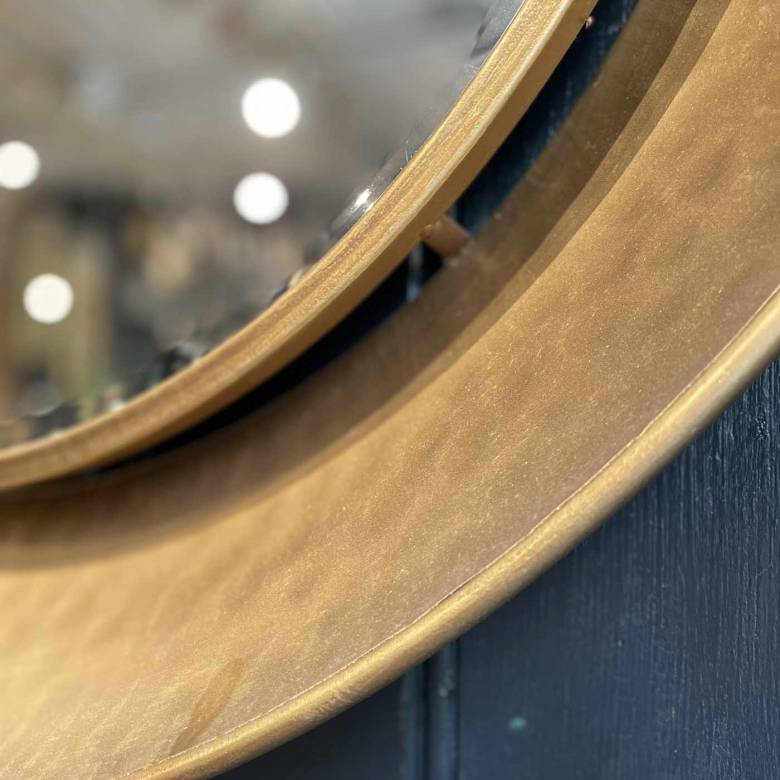 Gold Circular Hammered Rimmed Mirror D:88cm