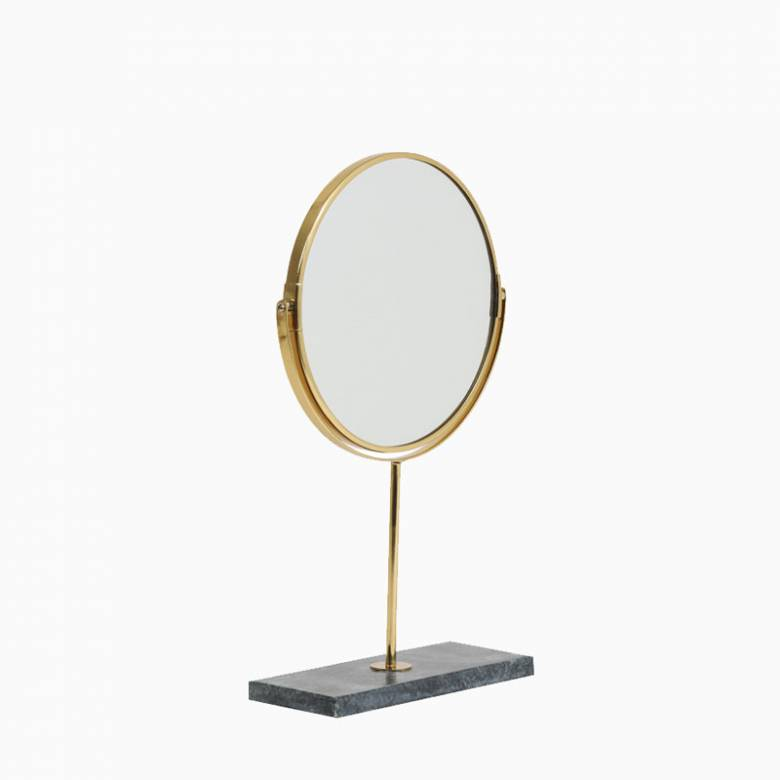 Gold Tabletop Circular Mirror On Green Marble Base