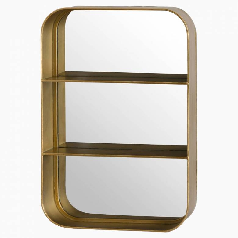 Gold Curved Mirror With Two Shelves