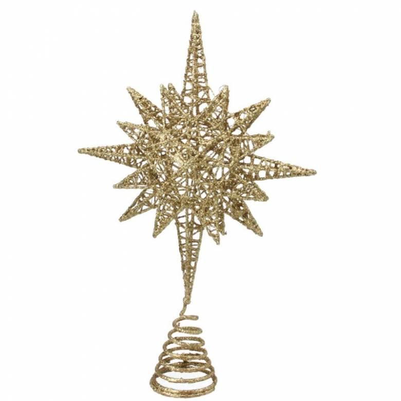 Gold Glitter Spikey Wire Star Tree Topper Decoration