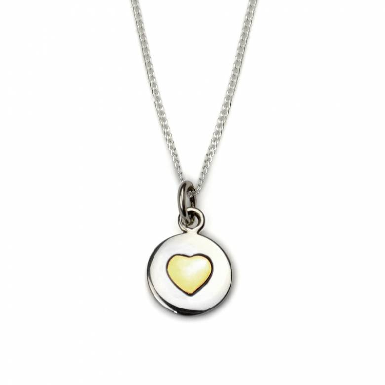 Gold Heart Circle Sterling Silver Necklace