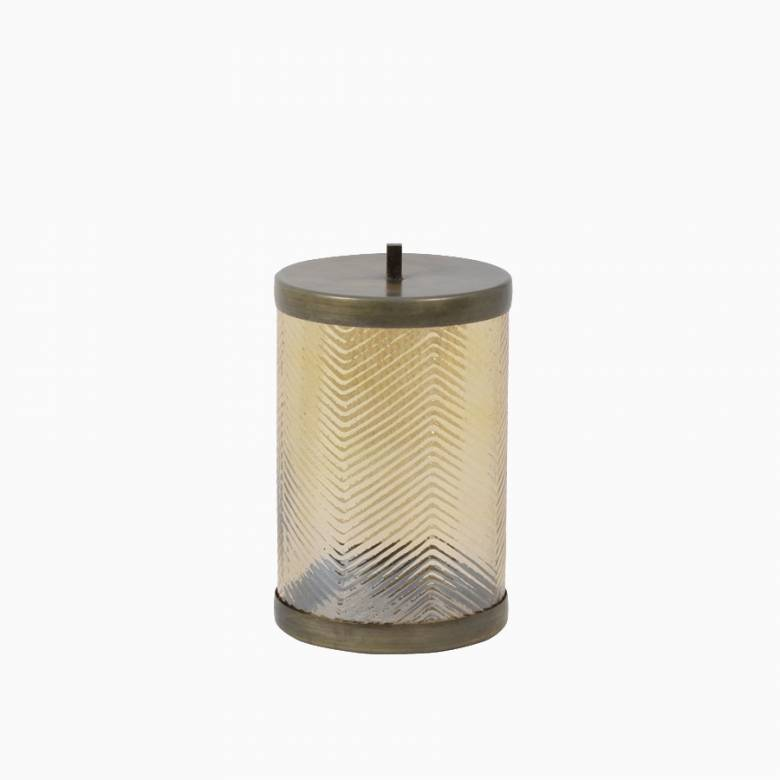 Gold Ribbed Glass And Metal Storage Jar With Lid