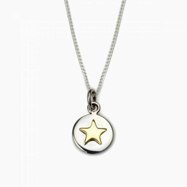 Gold Star Good Luck Circle Necklace