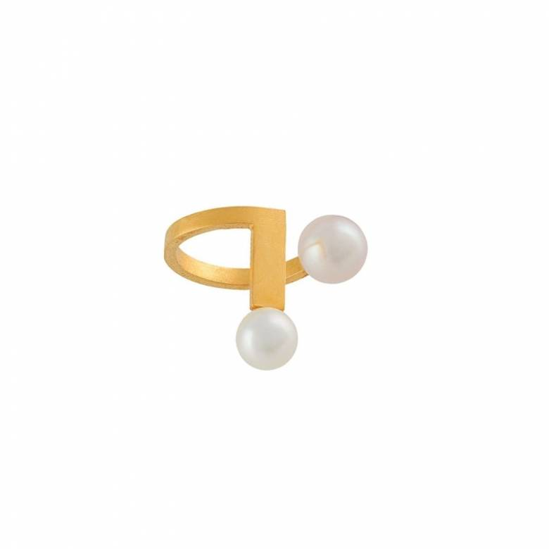 Gold With Pearl Ear Cuff