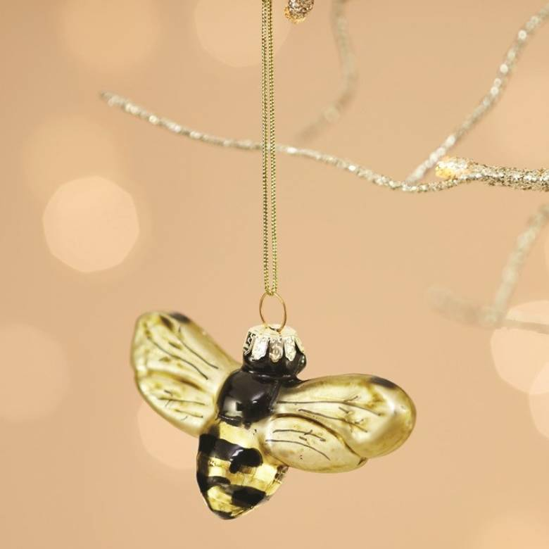 Golden Bee Glass Bauble Christmas Decoration