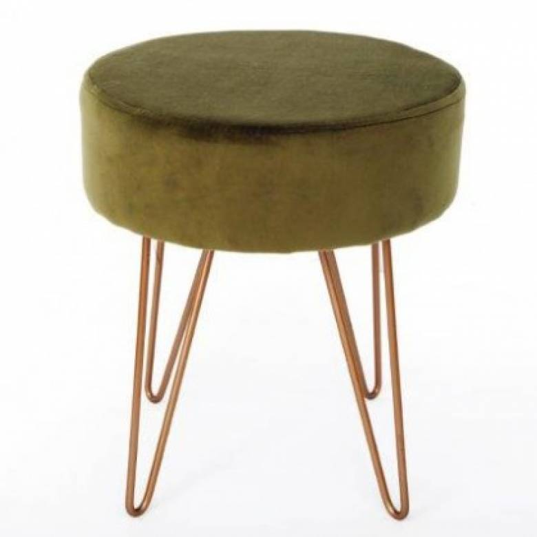 Green Velvet Circular Stool With Gold Hairpin Legs