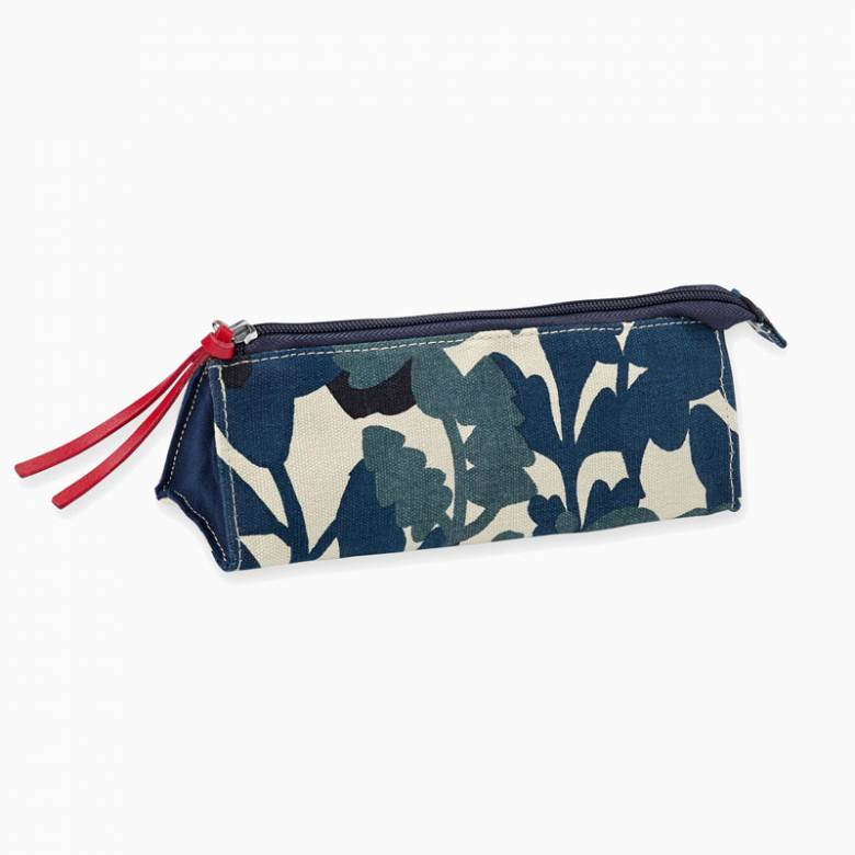 Green And White Floral Print Pencil Case 23x14cm