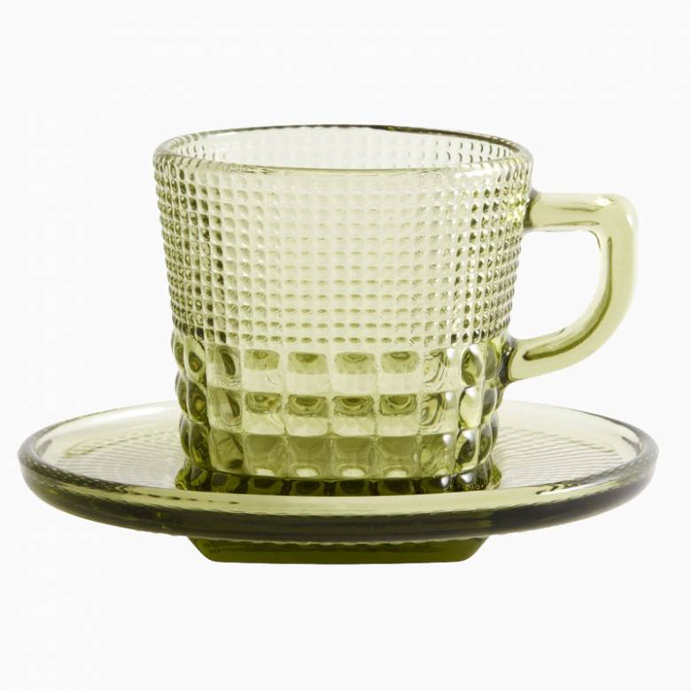 Textured Glass Cup And Saucer - Green