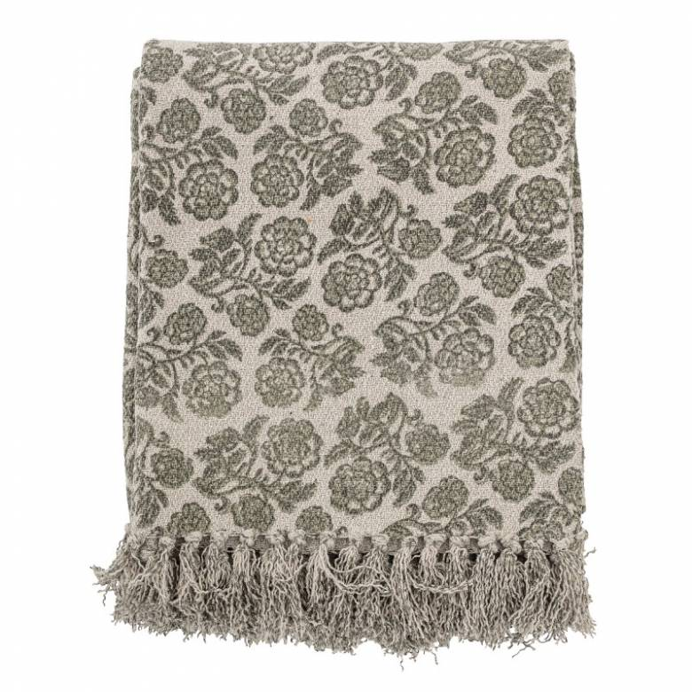 Green Floral Patterned Blanket Made From Recycled Cotton