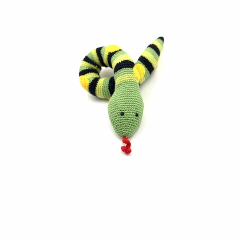 Green Knitted Snake Rattle 0+