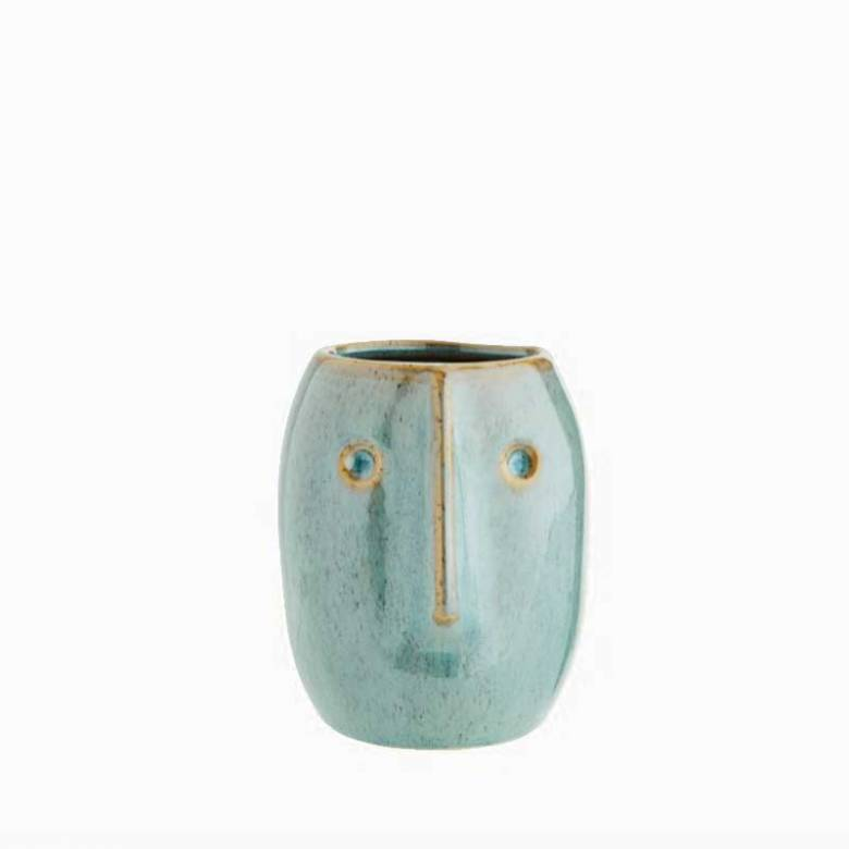 Green Stoneware Curved Face Vase 10cm