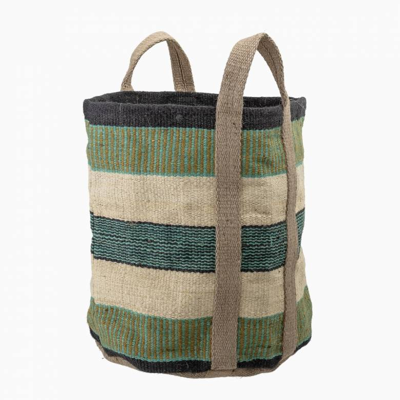 Green Striped Jute Bag With Handles
