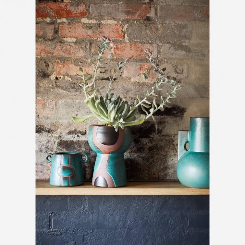 Green Terracotta Vase with Angular Handles