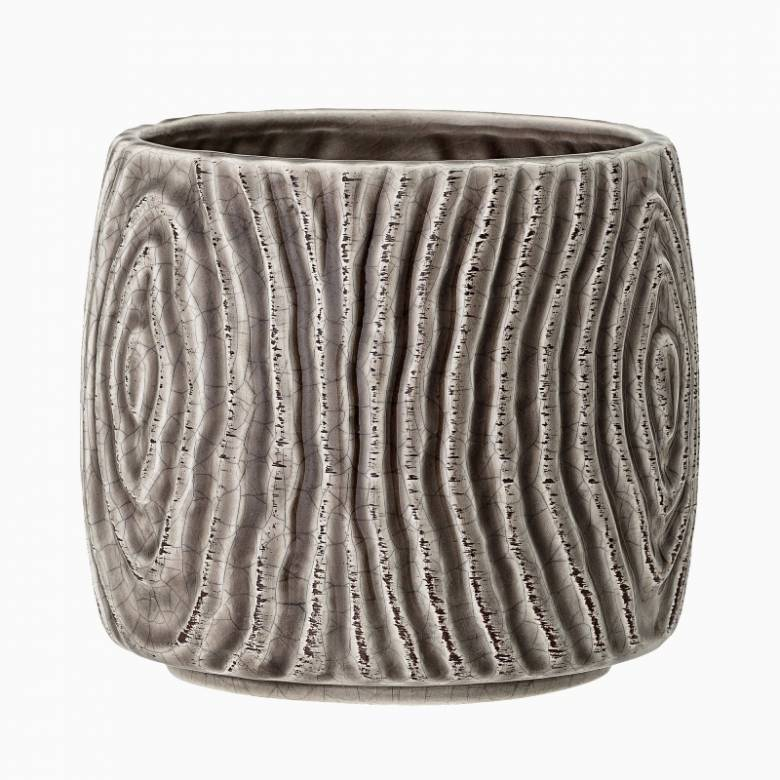 Grey & Brown Bark Effect Stoneware Flower Pot