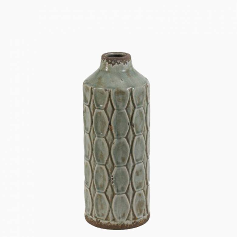 Grey Green Textured Tall Ceramic Decorative Vase