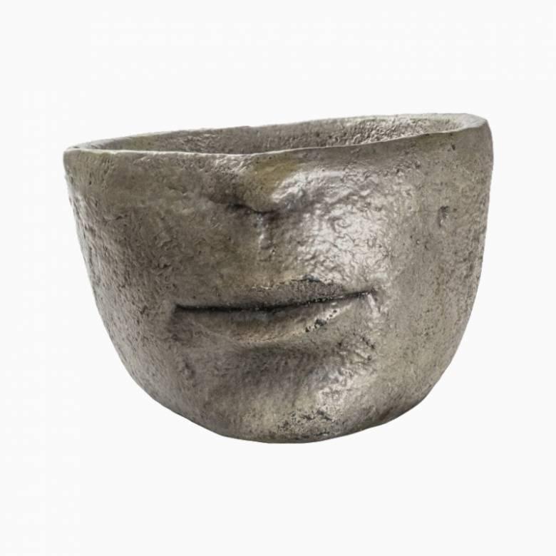Grey Half-Head Resin Planter