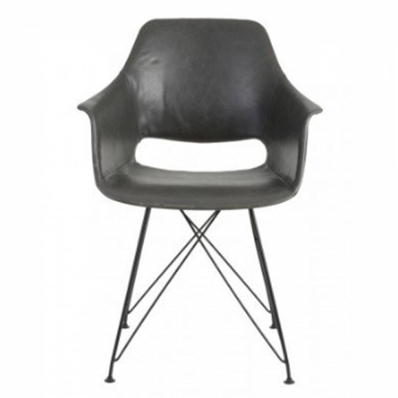 Brenis Grey Chair With Black Wire Legs