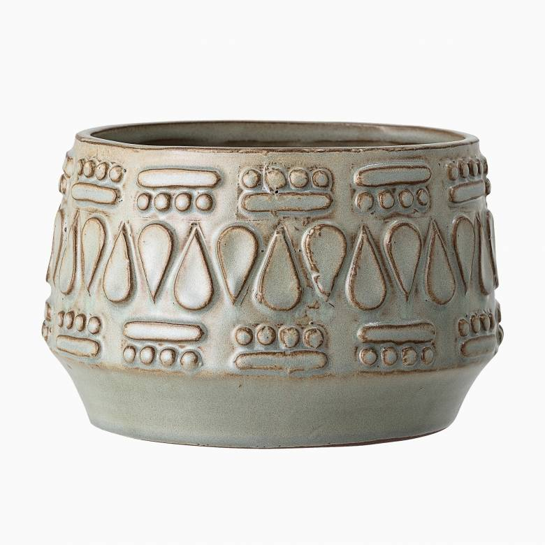 Grey Stoneware Flower Pot Cover With Drop Pattern