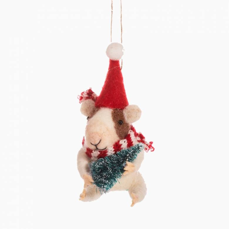 Guinea Pig With Christmas Tree Felt Hanging Christmas Decoration