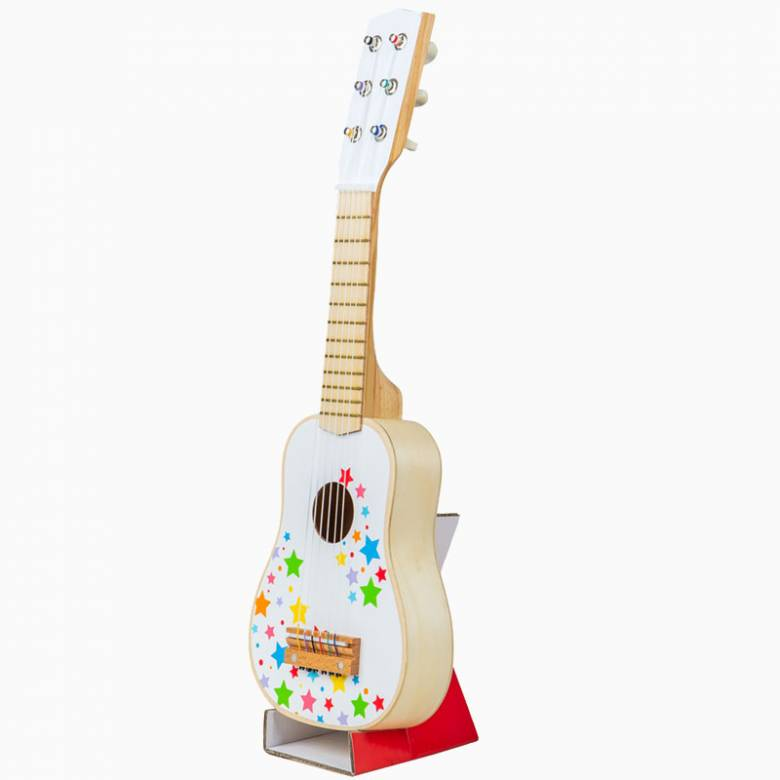 Painted Wooden Guitar With Stars