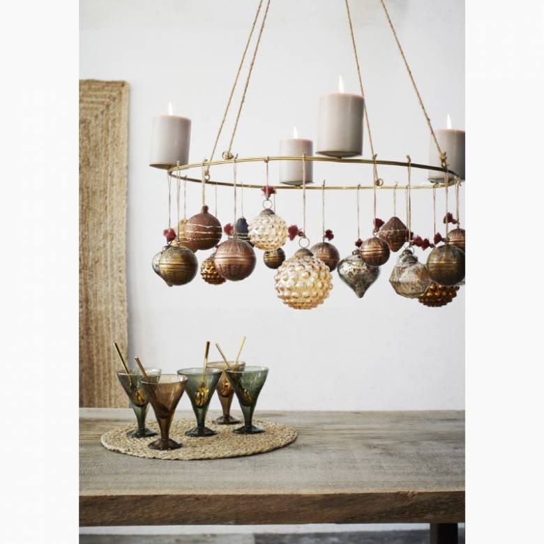 Hanging Aluminum Ball Decoration In Antiqued Brass