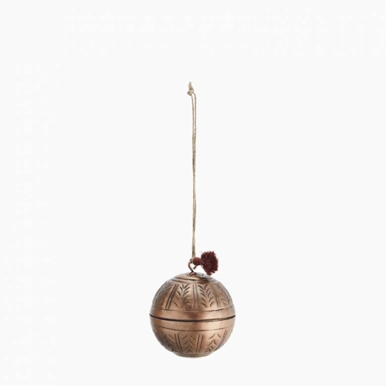 Hanging Aluminum Ball Decoration In Antiqued Copper