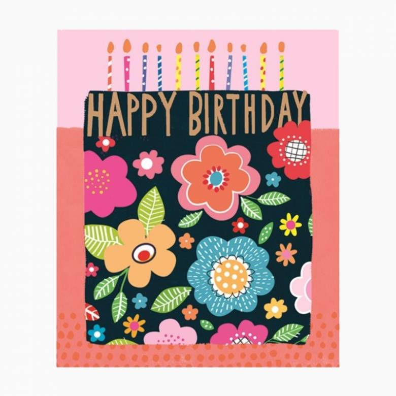 Happy Birthday Floral Cake - Large Greetings Card