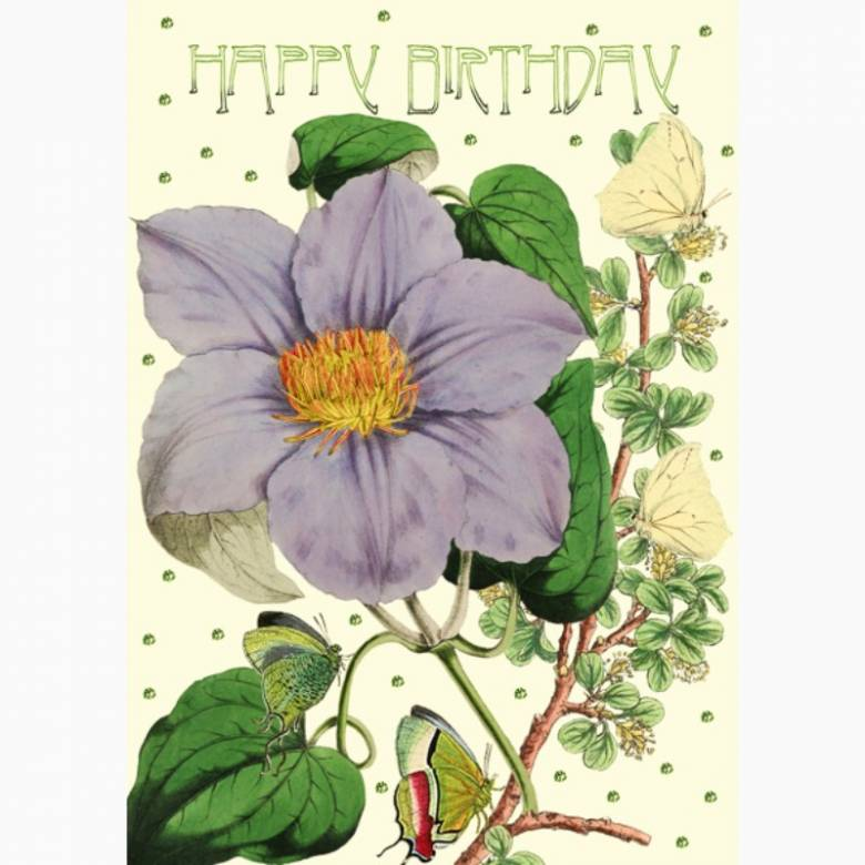 Happy Birthday Glitter Clematis - Greetings Card