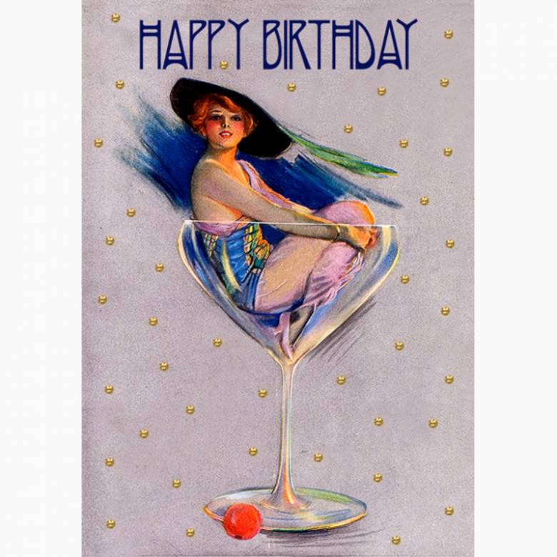 Happy Birthday Glitter Cocktail - Greetings Card