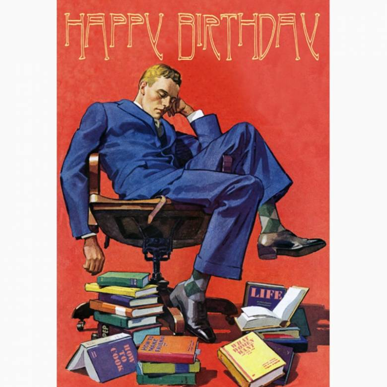 Happy Birthday Sleeping Books - Greetings Card