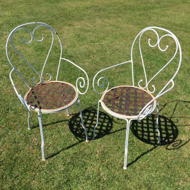 Heart Scroll Wire Garden Chair With Arms x 2