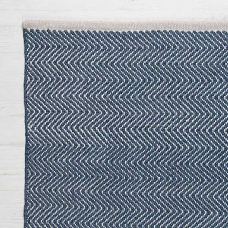 Herringbone NAVY 150cmx90cm Recycled Bottle Rug